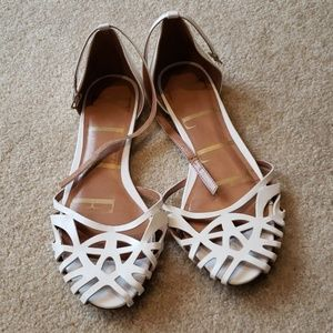 White ankle strap flats